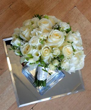 Spray Roses and Freesias Bridal Bouquet